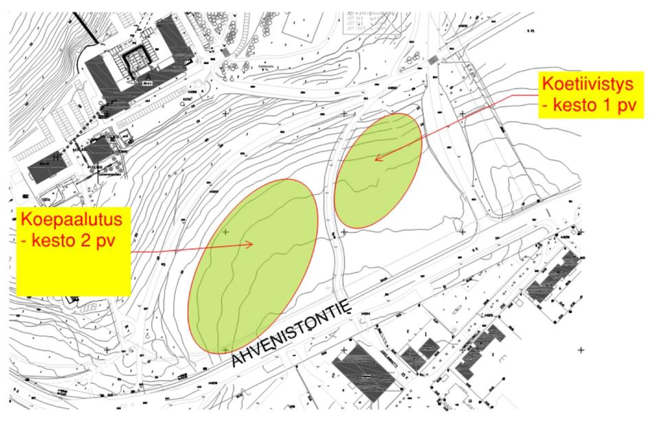 Karttakuva. Karttaan merkitty alueet Ahvenistontien vieressä, minne tehdään koepaalutuksia ja koetiivistyksiä.