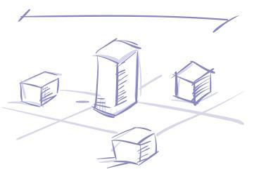 Luonnosmainen piirroskuva. Keskellä piirros korkeammasta talosta, jonka ympärillä kolme pienempää rakennusta.