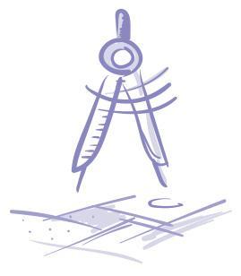 Luonnosmainen piirroskuva. Harppi, joka on asetettu suunnittelupöydän päälle.