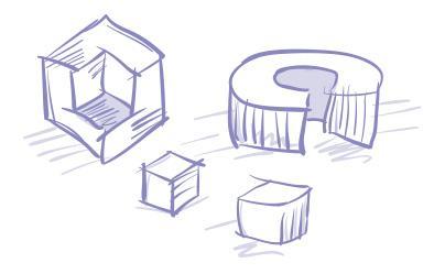 Luonnosmainen piirroskuva. Erilaisia rakennuksen muotoja, pyöreitä ja kulmikkaita.