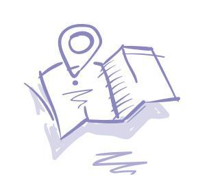 Luonnosmainen piirroskuva. Paperinen ja aukaistu kartta, jonka yhdestä kohdasta nousee pyöreä muoto, joka kuvaa kartassa tiettyä paikkaa. Muoto kuvastaa sairaalan rakennuspaikan valintaa ja päätöstä siitä.