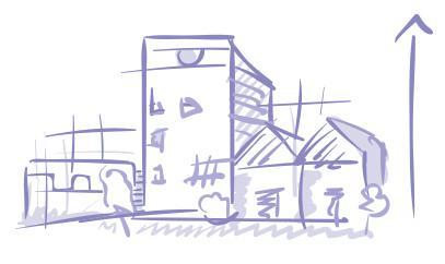 Luonnosmainen piirroskuva. Eri muotoisia ja näköisiä rakennuksia rinta rinnan. Oikealle puolelle on piirretty ylöspäin kohoava nuoli, joka kuvastaa suunnittelun ja rakentamisen etenemistä.