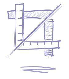 Luonnosmainen piirroskuva, jossa viivottimia ja suora jana kuvastamassa sairaalan suunnittelua.
