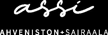 Ahveniston sairaalan logo ilman taustaa. Assin nimi on kirjoitettu pehmeitä muotoja käyttäen hieman kaunokirjoituksen omaisesti.