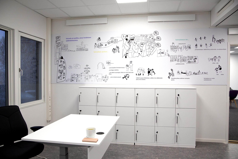 Kuvassa Verkatehtaan taide-esikoululaisten taideteos Ahveniston sairaalan projektitoimiston seinällä