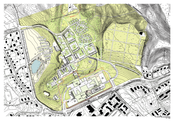 Ahveniston sairaala-alueen kaavarungon luonnos karttakuvana kuvattuna ylhäältä päin